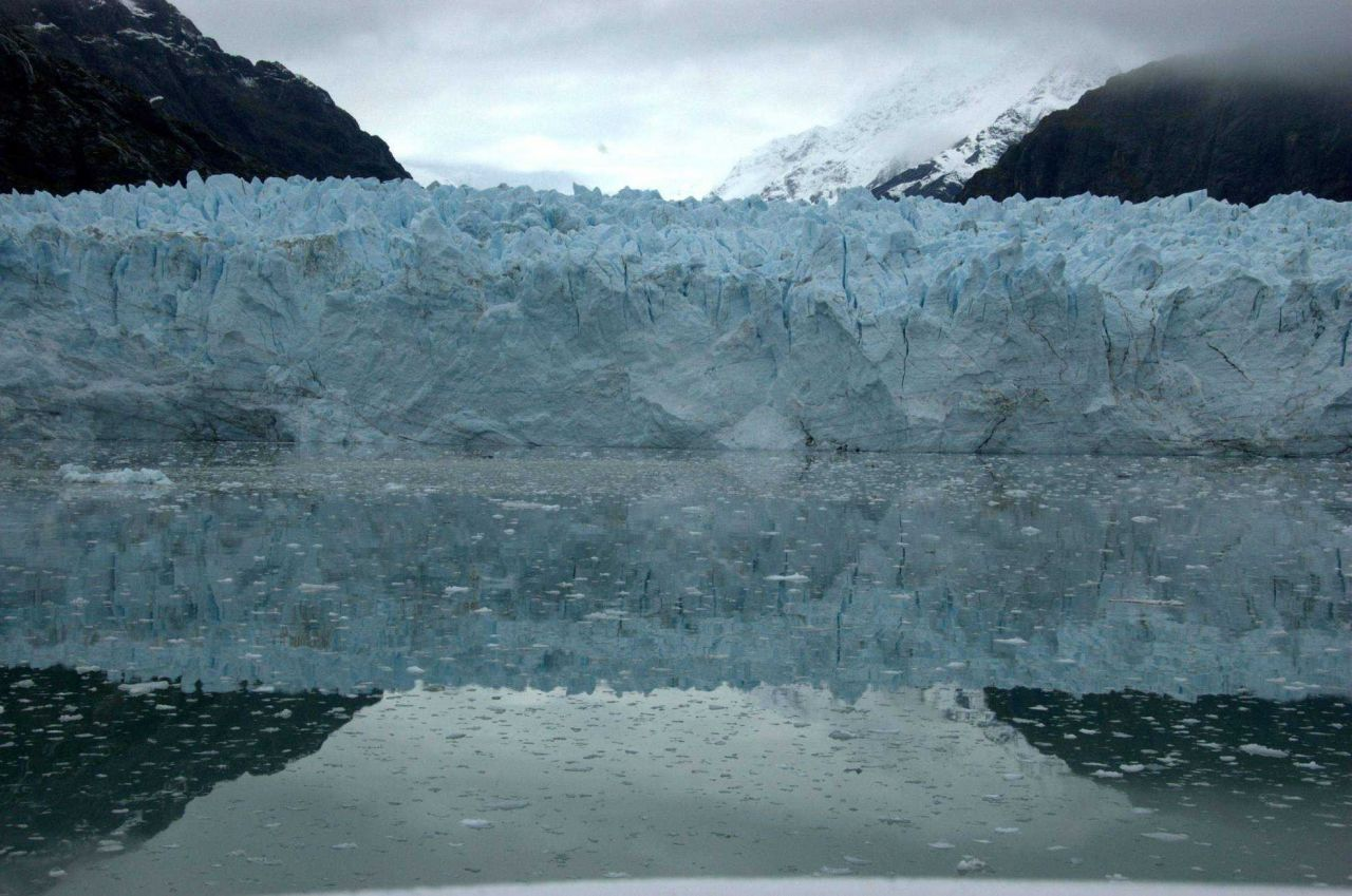 Reflections of a glacier front. Photo