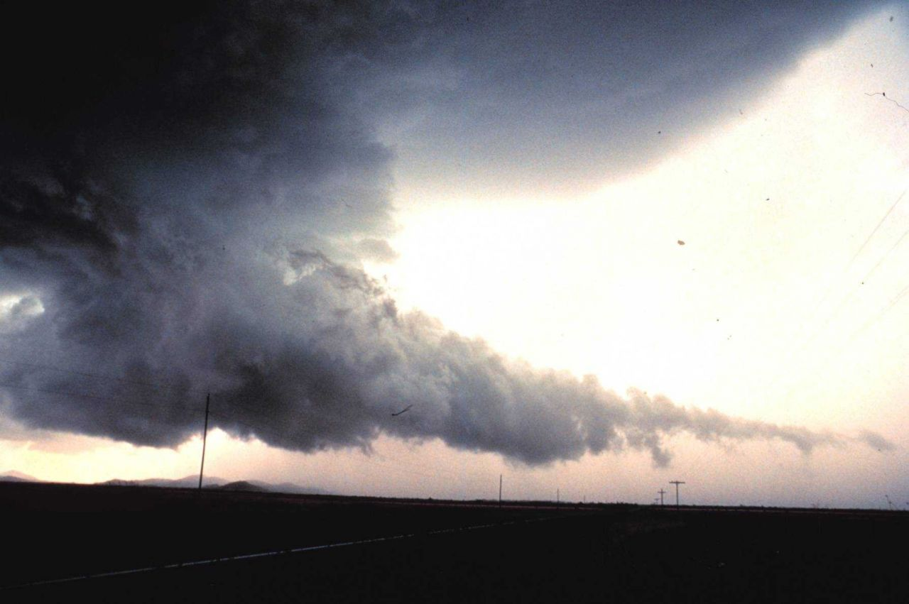 Wall cloud with tail cloud. Photo