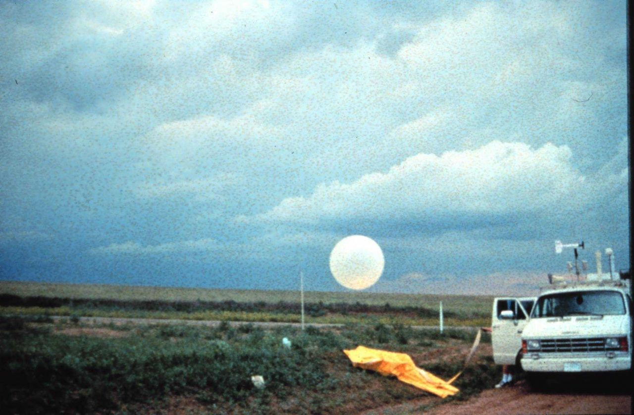 Project Vortex - launching a balloon for upper air measurements. Photo