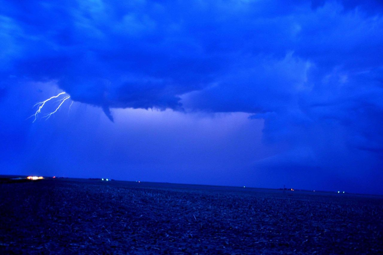 Funnel cloud and lightning Photo