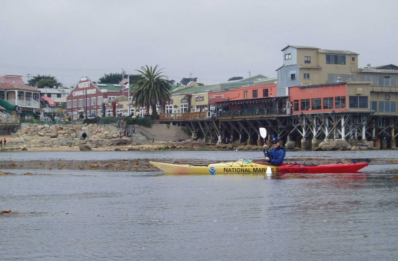 Kayaking off Cannery Row on the Monterey waterfront. Photo