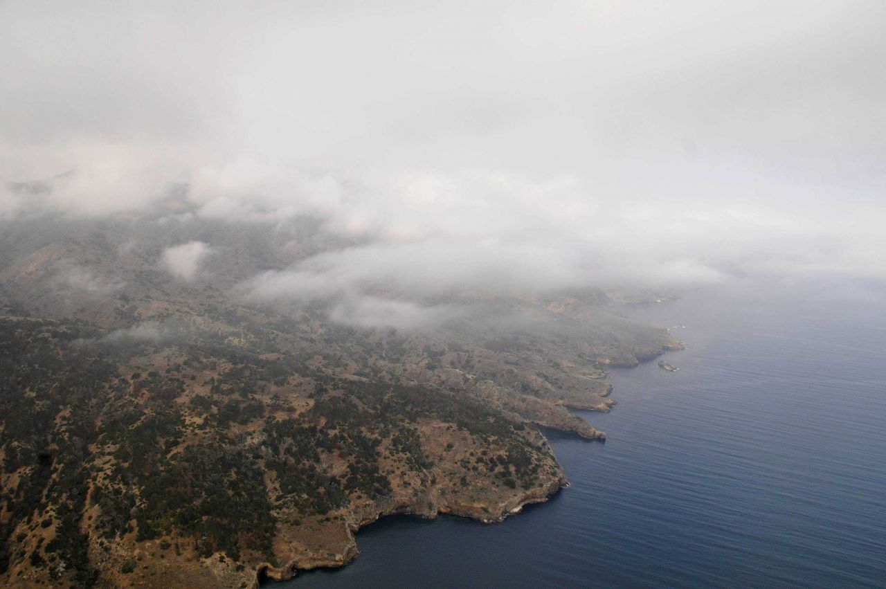 Low clouds over Santa Cruz Island. Photo