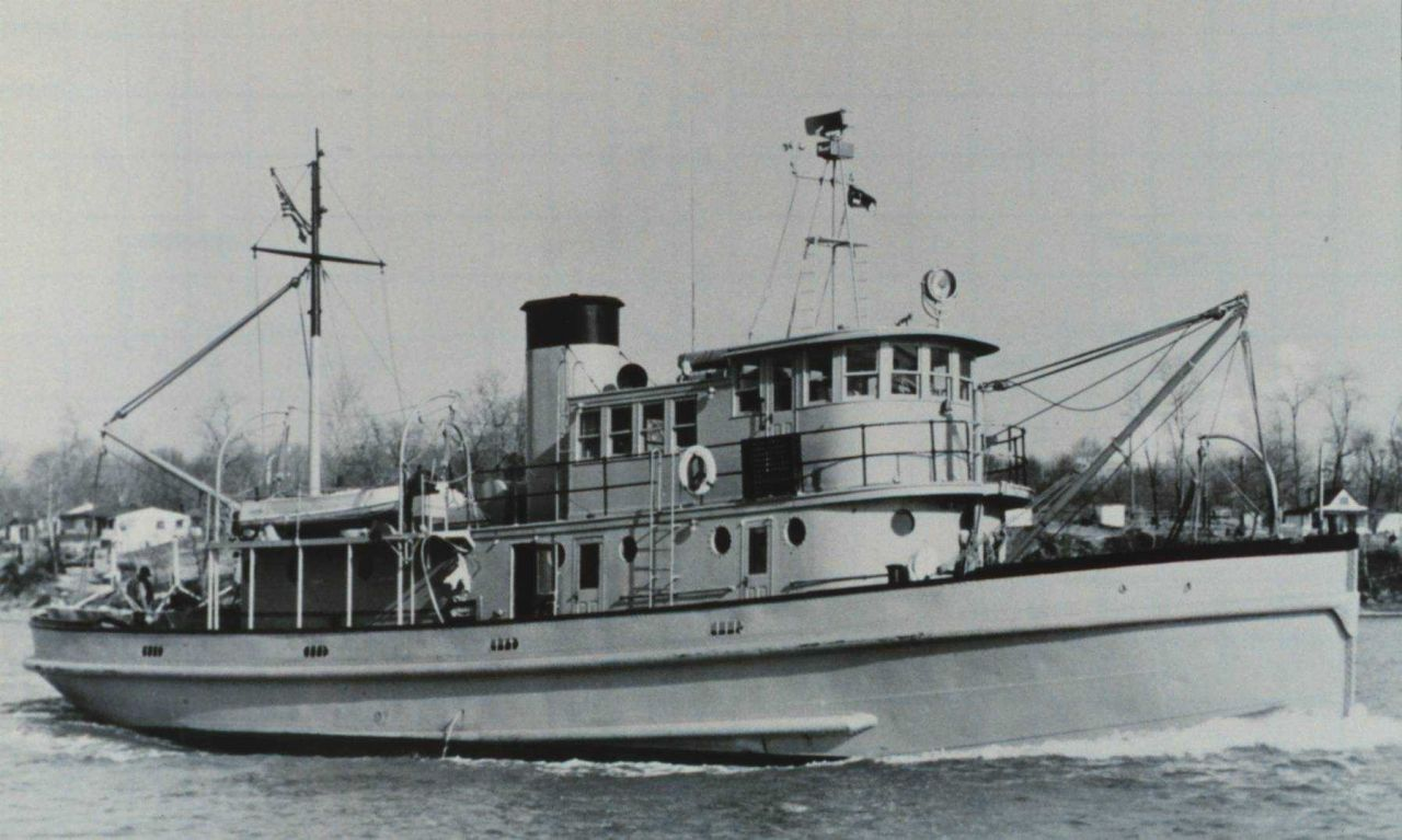 The Coast and Geodetic Survey Ship MARMER undergoing sea trials at Curtis Bay, Maryland. Photo