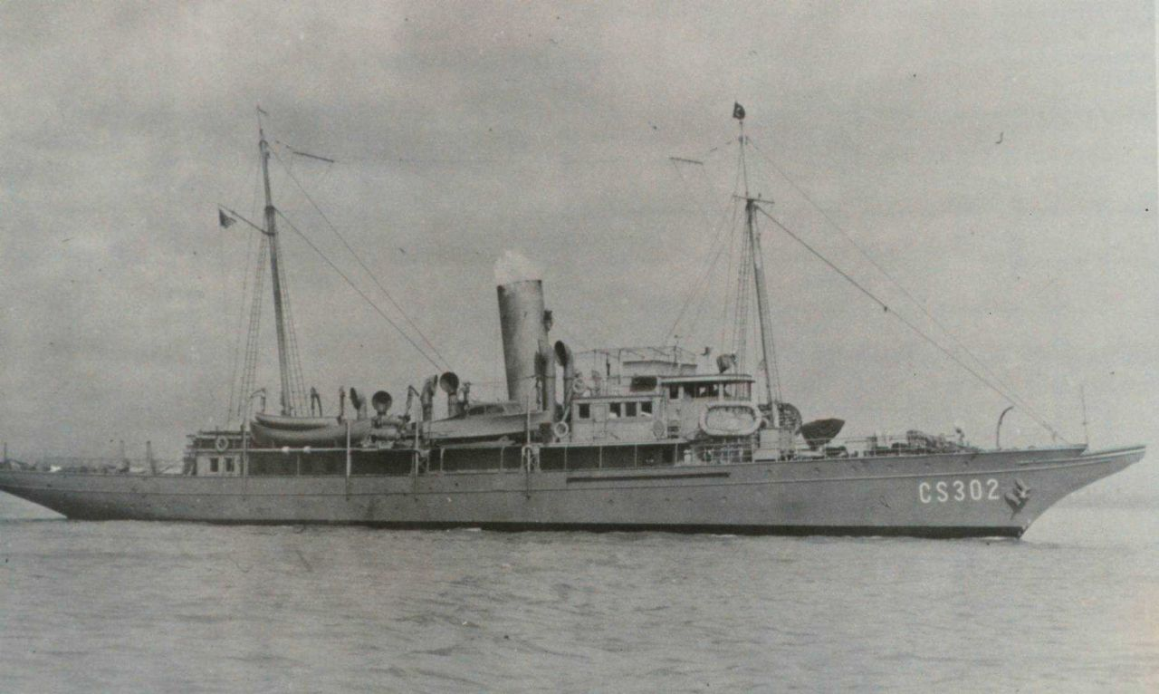 The Coast and Geodetic Survey Ship LYDONIA during World War II. Photo