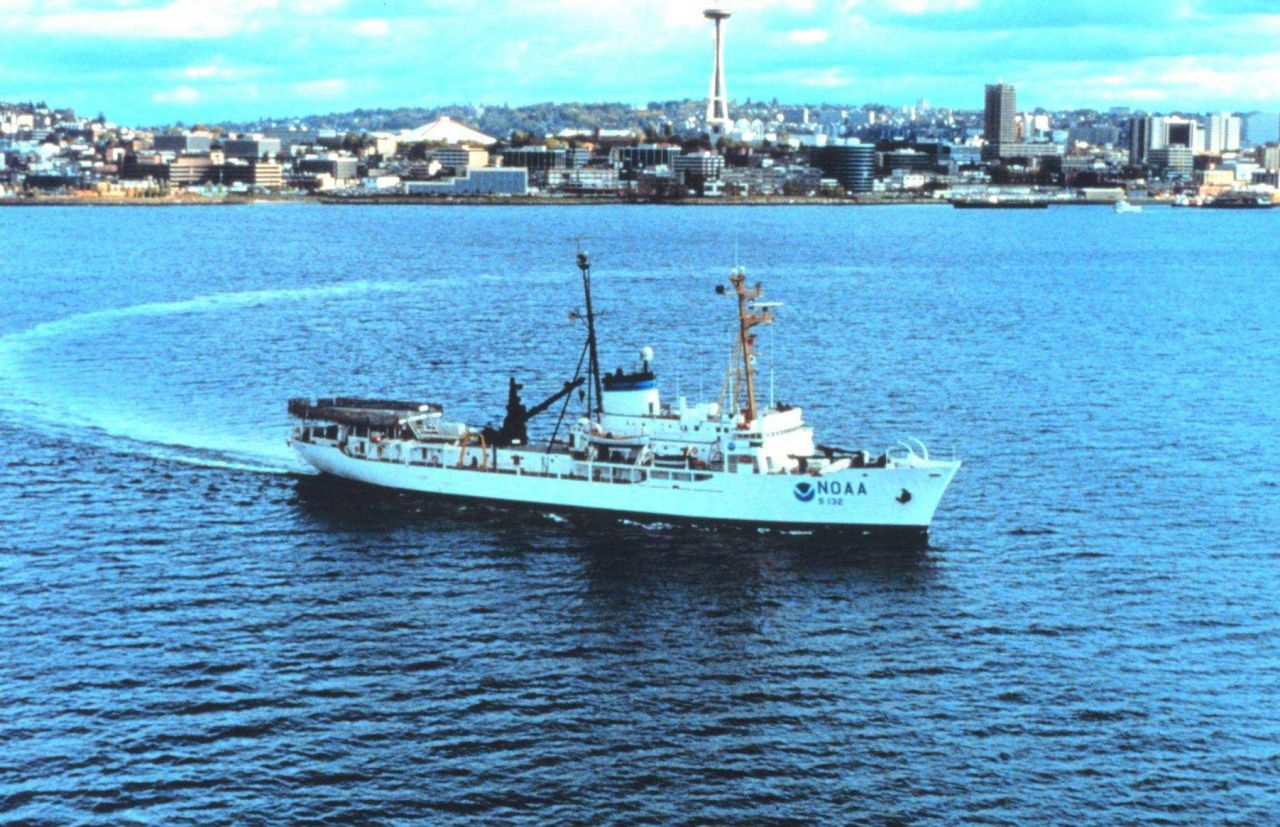 The NOAA Ship SURVEYOR off Seattle with the Space Needle in the background. Photo