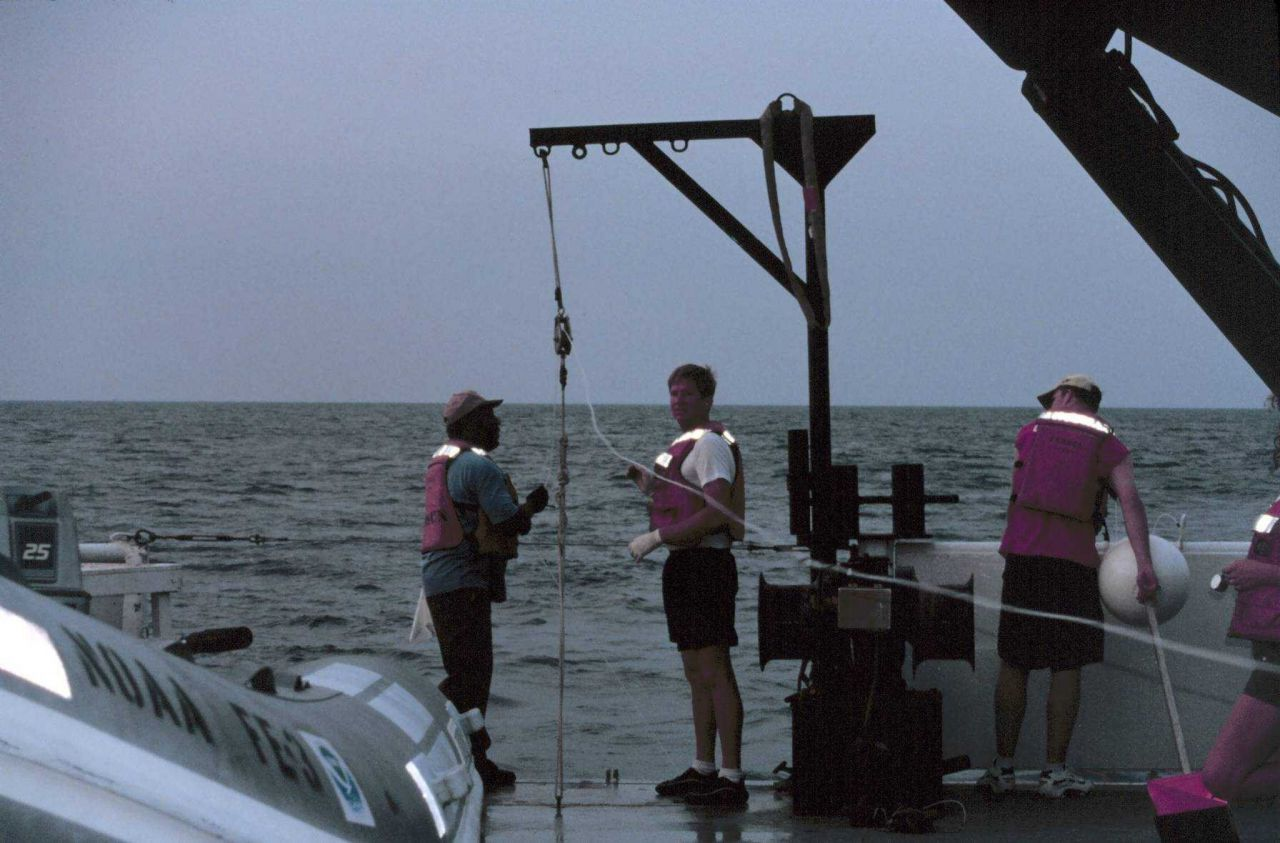 Long-line operations during shark studies on the NOAA Ship FERREL. Photo