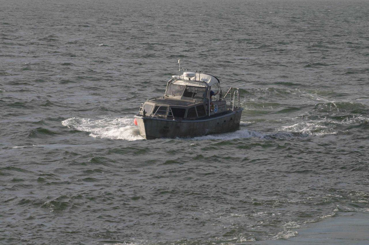 Launch approaching NOAA Ship THOMAS JEFFERSON for pickup. Photo