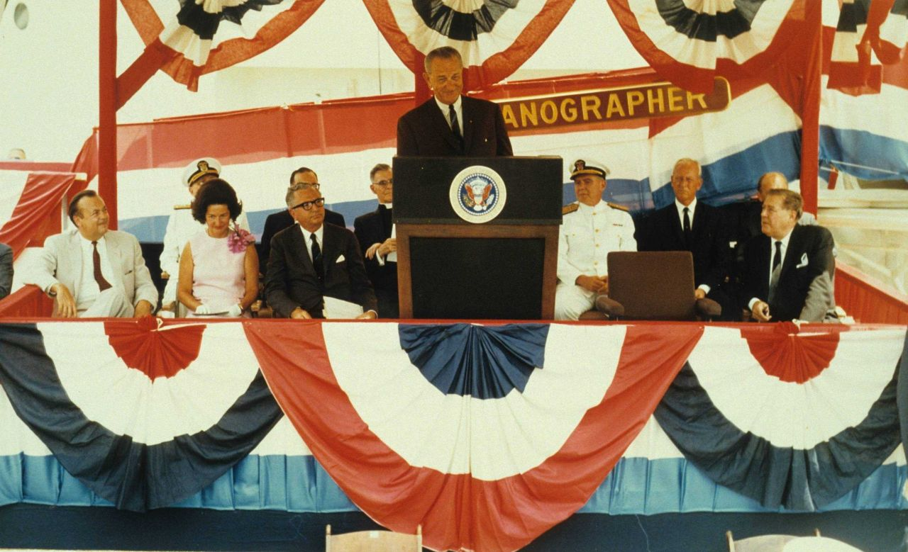 President Lyndon Baines Johnson speaking at the commissioning ceremony of the Coast and Geodetic Survey Ship OCEANOGRAPHER Photo