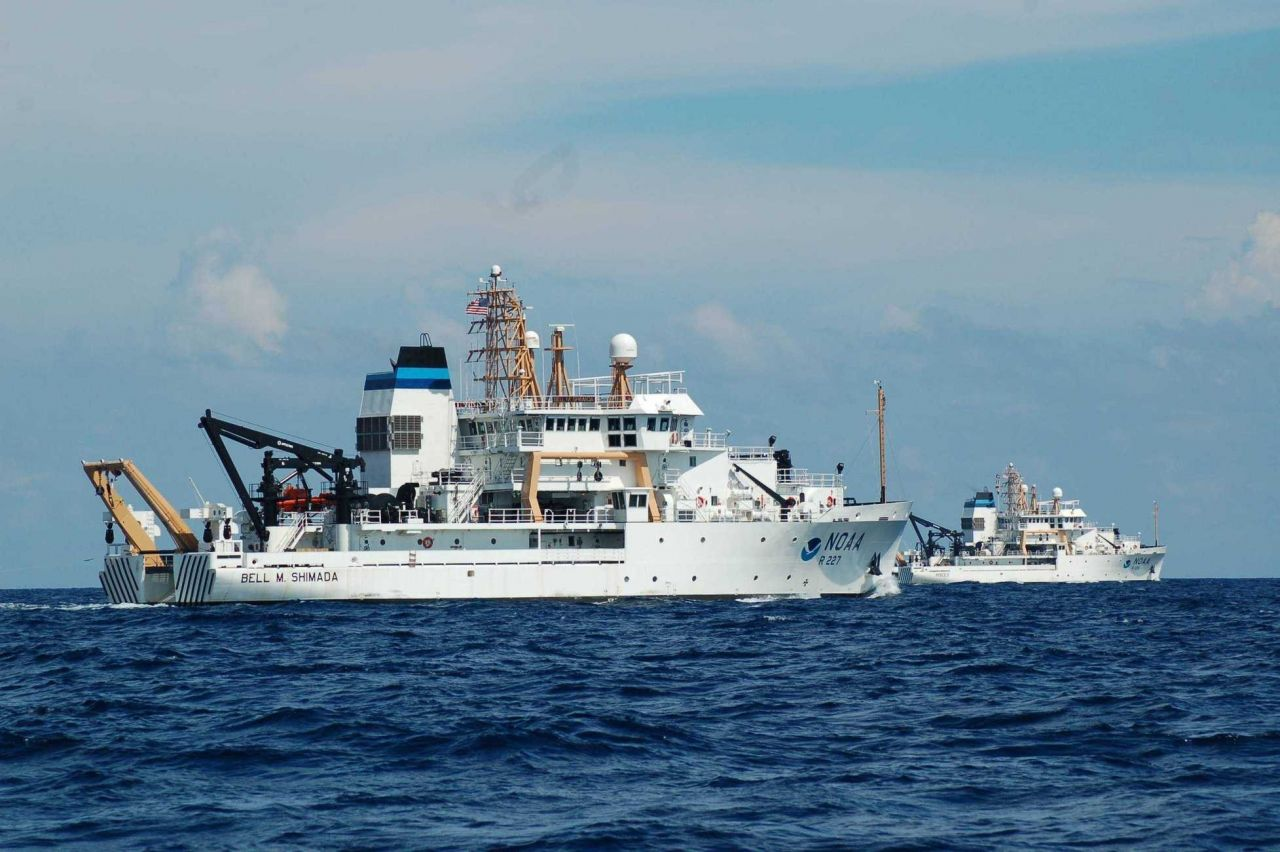 NOAA Ships BELL SHIMADA and PISCES Photo