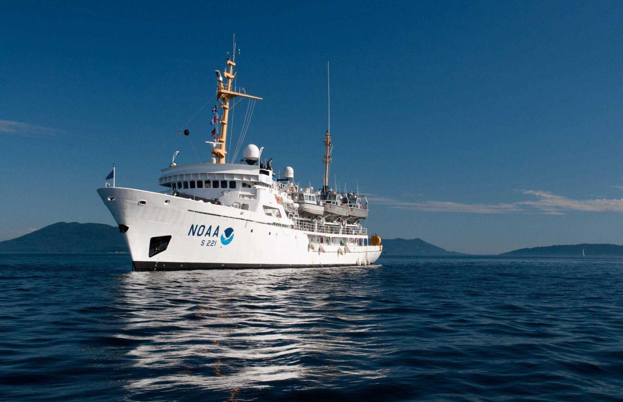 Port side view of NOAA Ship RAINIER at anchor. Photo