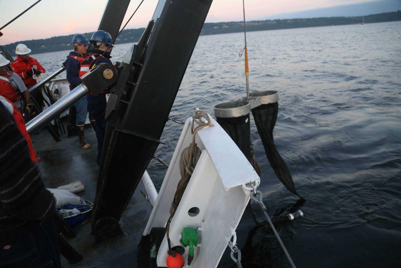 Deploying bongo nets off NOAA Ship FAIRWEATHER. Photo