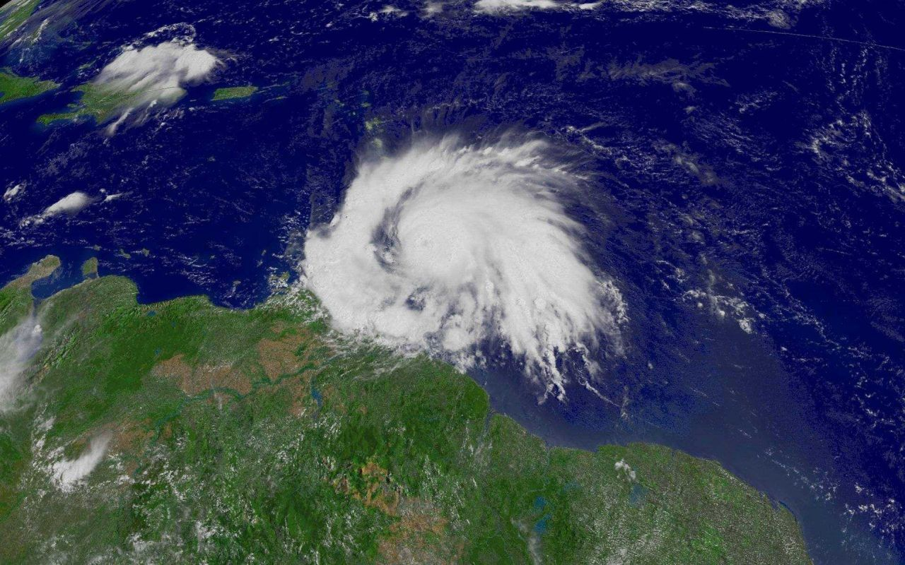 Hurricane Ivan approaching the Antilles from the western Atlantic Ocean. Photo