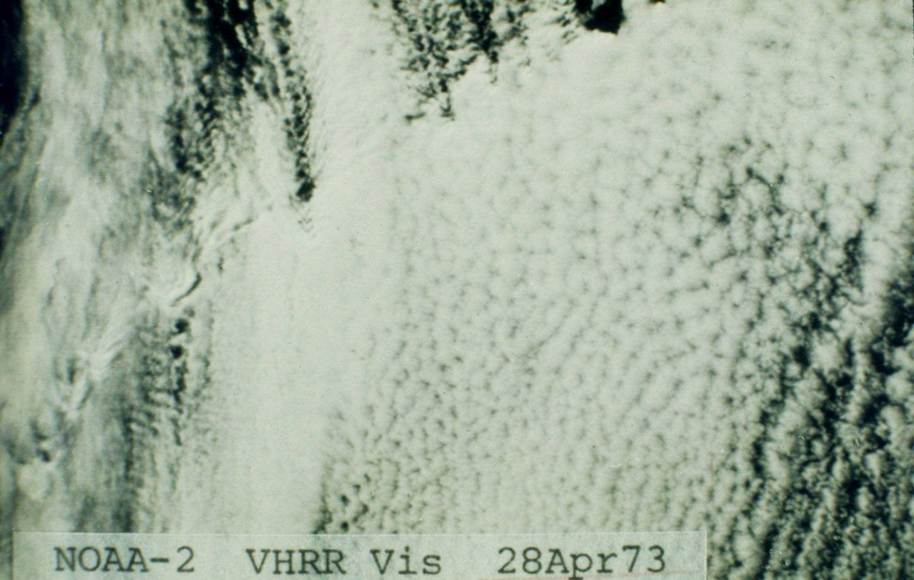 Looking down on cloud streets and a honeycomb pattern in cumulus Photo