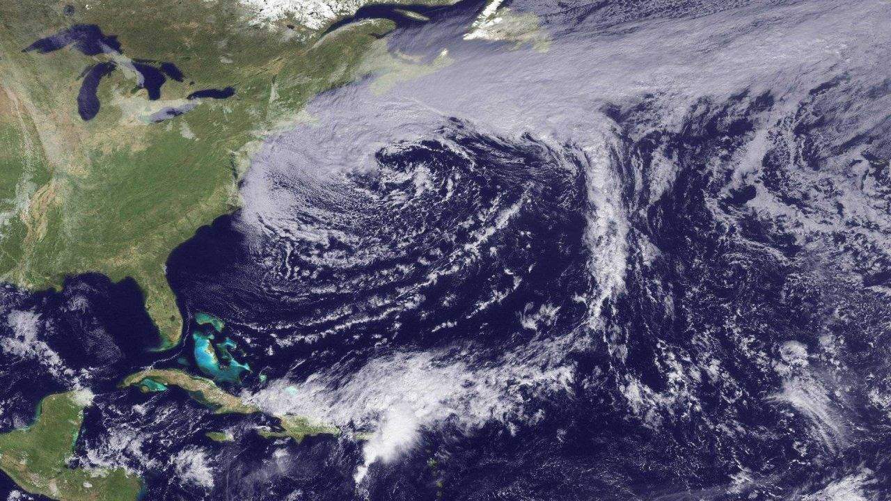 A storm system moving away from the Northeast United States Photo