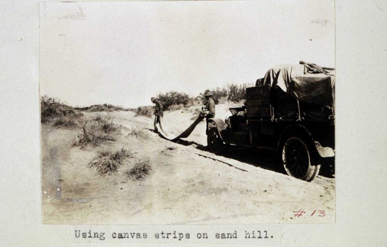 Using canvas strip on sand hill Photo