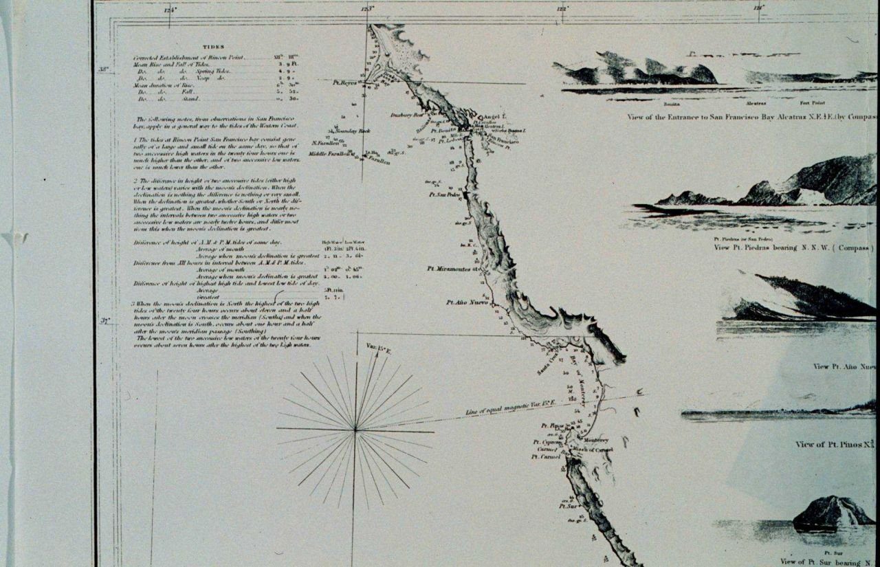 Section of West Coast chart centered on Monterey Bay. Photo
