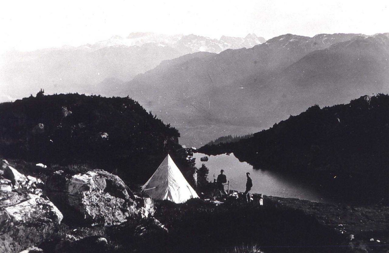Camp on the side of Mount Cote Photo