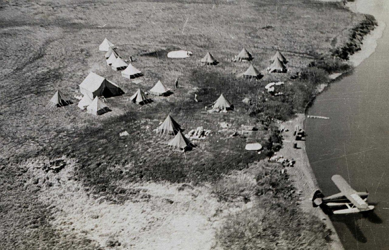 Birdseye view of an orderly campsite Photo