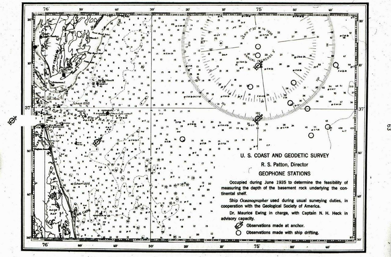 Stations used by Maurice Ewing in 1st offshore seismic reflection experiment Photo