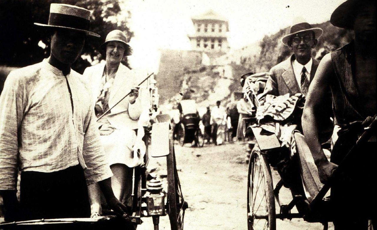Riding the rickshaws at Shanghai on the way out to the Philippines Photo