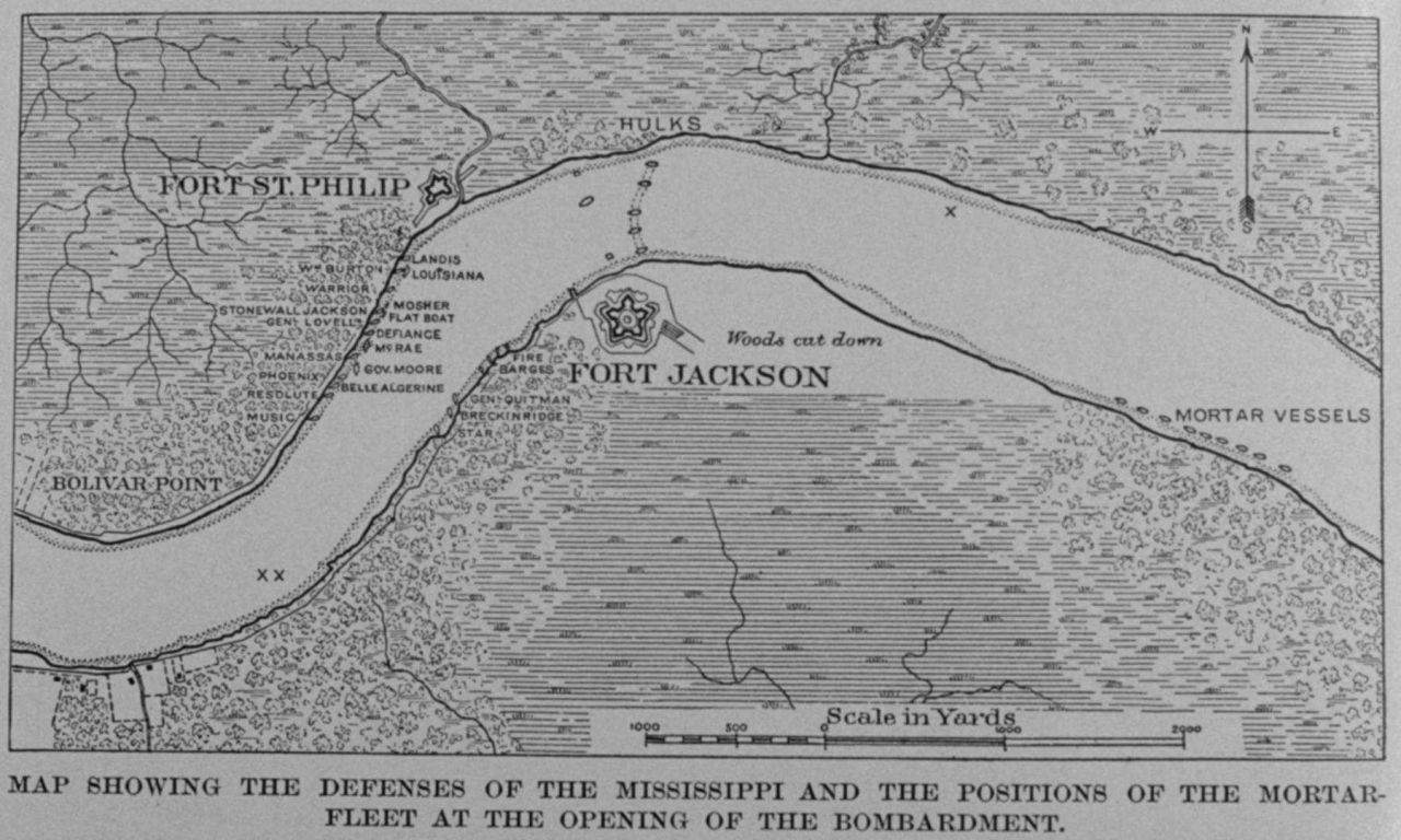 Map showing the defenses of the Mississippi and the positions of the mortar- fleet at the opening of the bombardment Photo