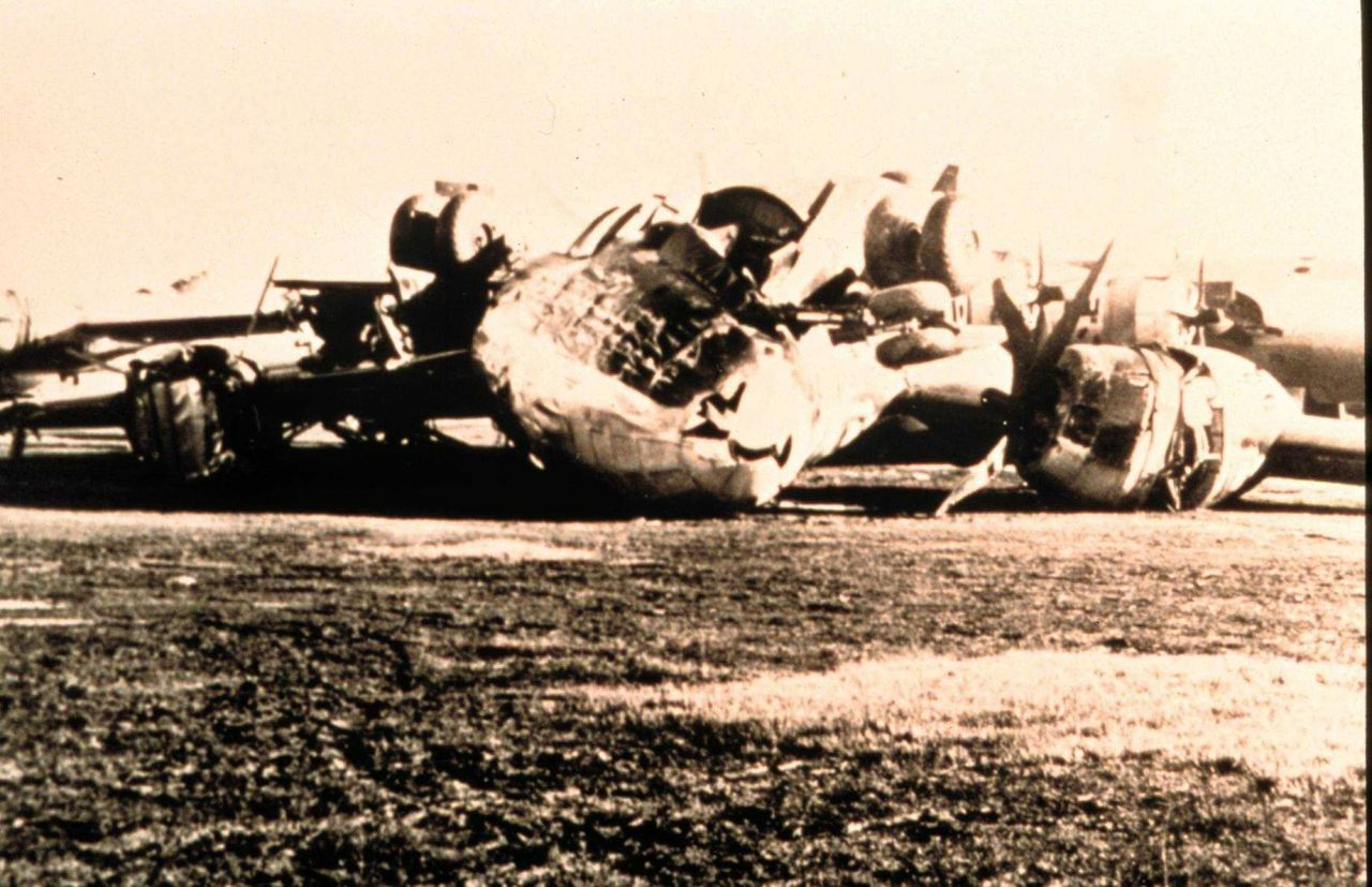 Airplanes spun about and left in random directions by tornado Tornado of March 25, 1948 at Tinker Air Force Base, Oklahoma coming of this storm result Photo