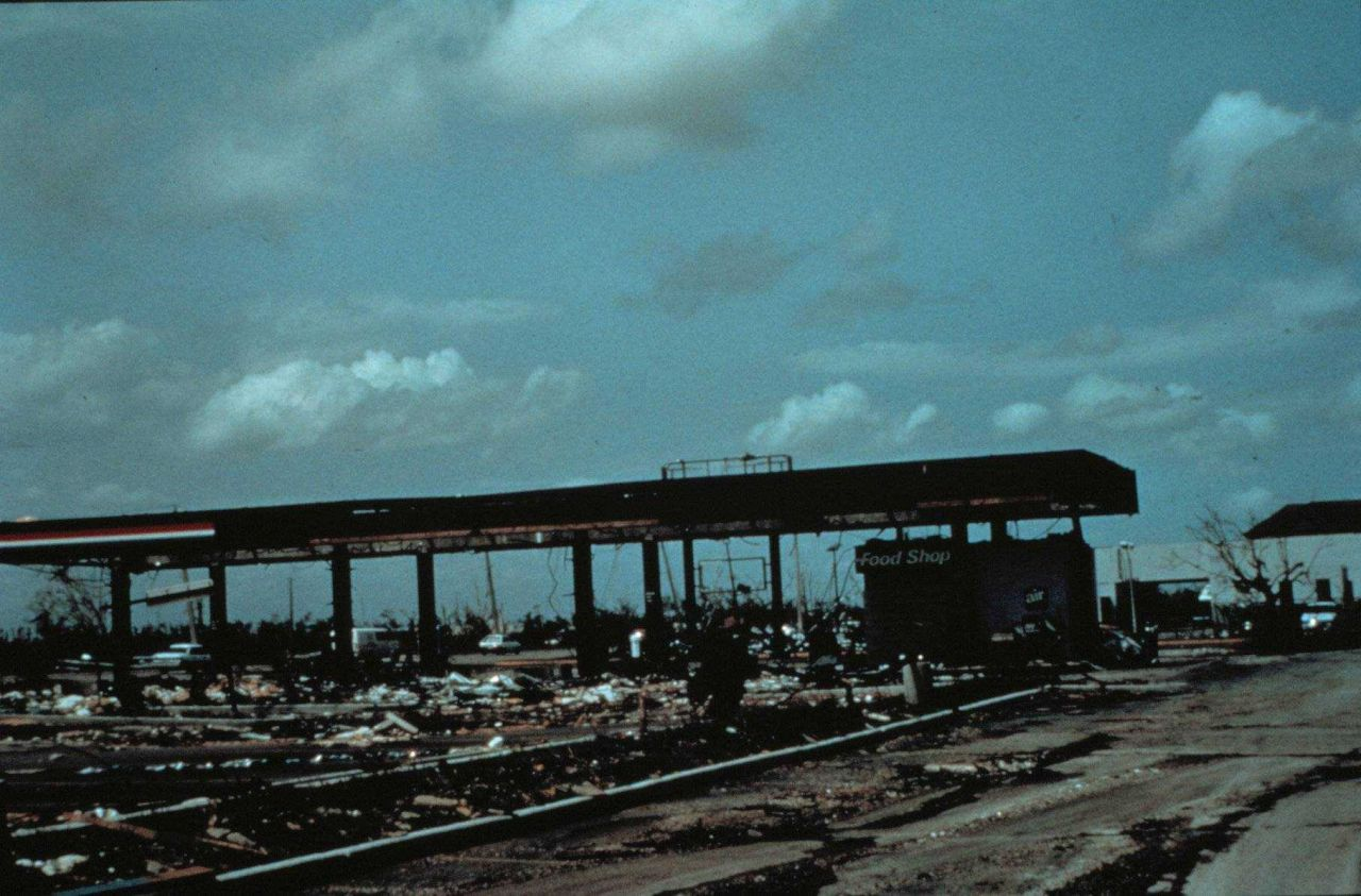 Hurricane Andrew - Wind damage to a self-serve gas station in Perrine Photo
