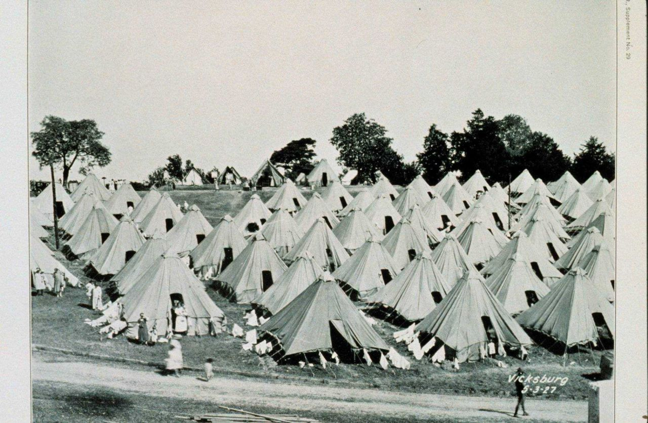 The Great Mississippi River Flood of 1927 A refugee camp at Vicksburg, Mississippi, on May 3, 1927 This was a nice camp on high ground Many refugees h Photo