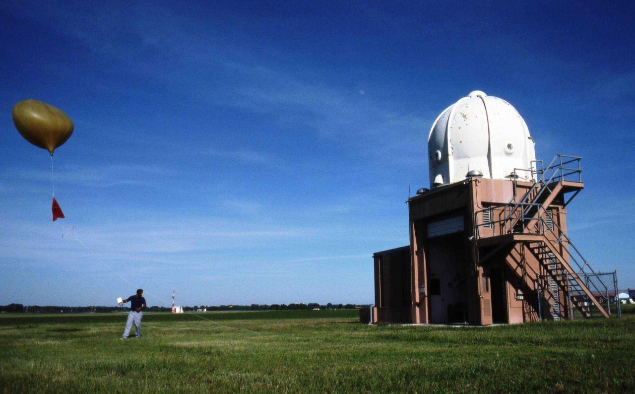 Launching a weather balloon radiosonde Photo