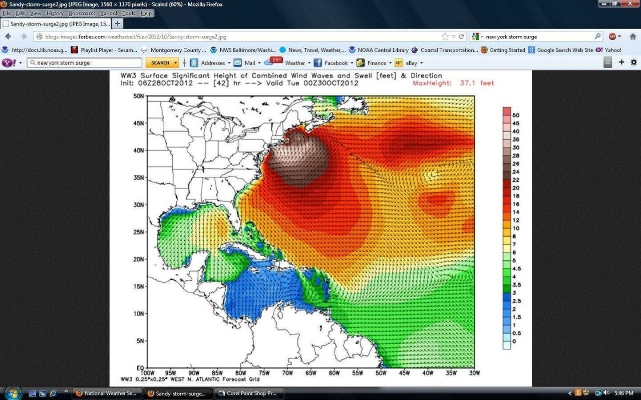 Predicted wave height impacting Long Island, New York City, and New Jersey associated with Hurricane Sandy Photo