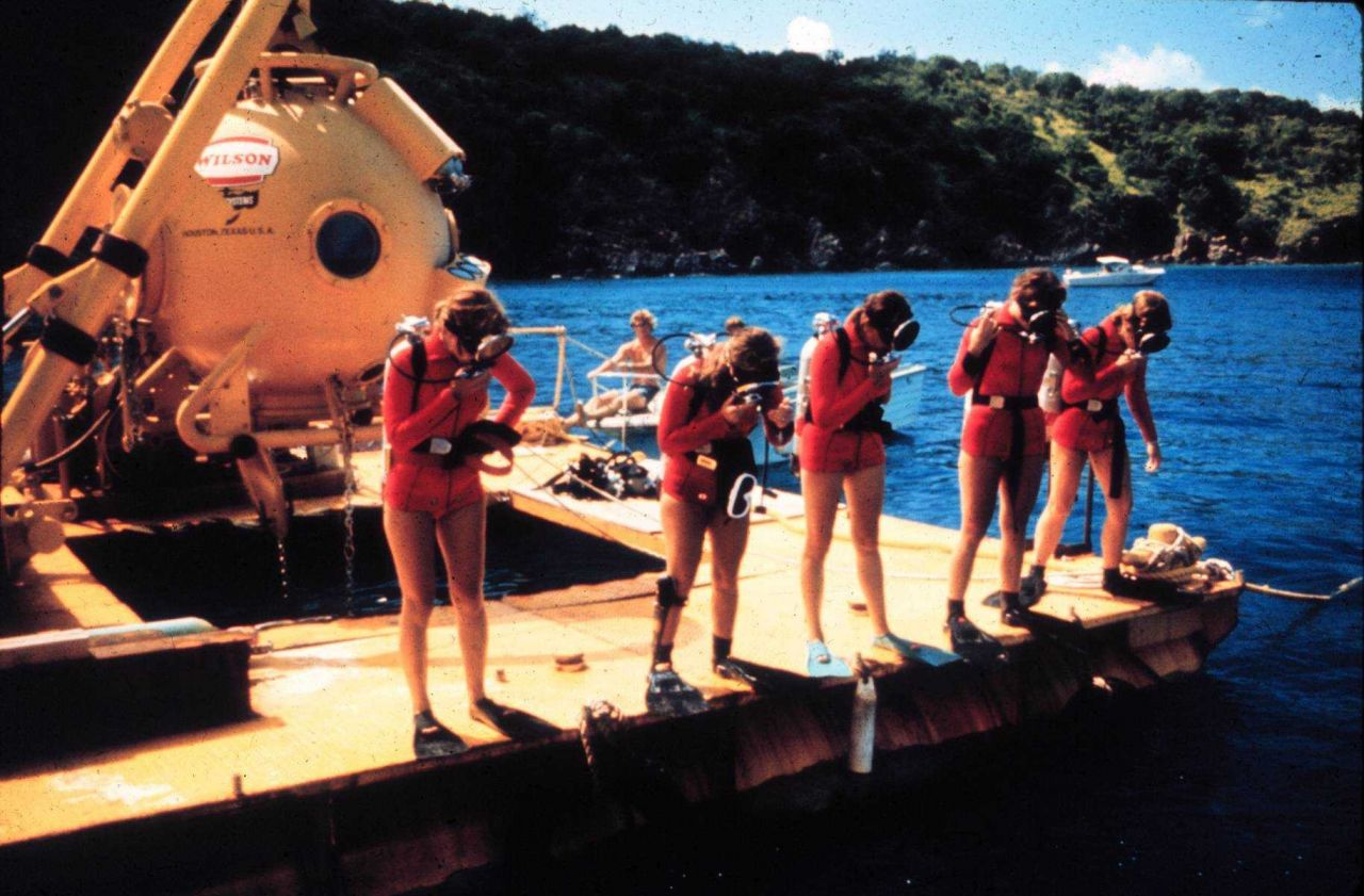 First all female saturation team in training for TEKTITE, 1970. Photo