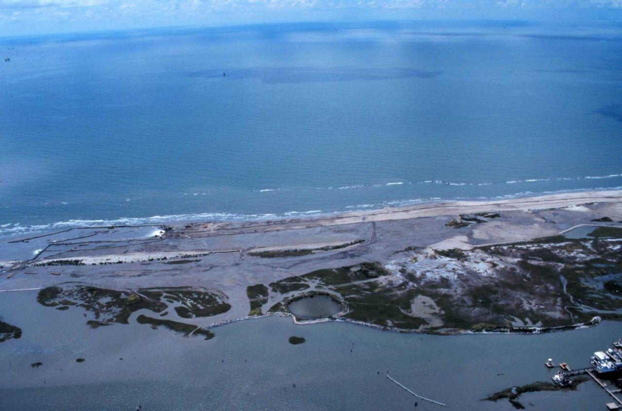 An aerial view looking out toward the Gulf of Mexico Photo