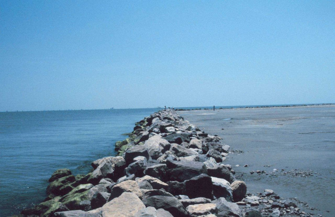 The rock revetment was placed to prevent erosion at the restoration site. Photo