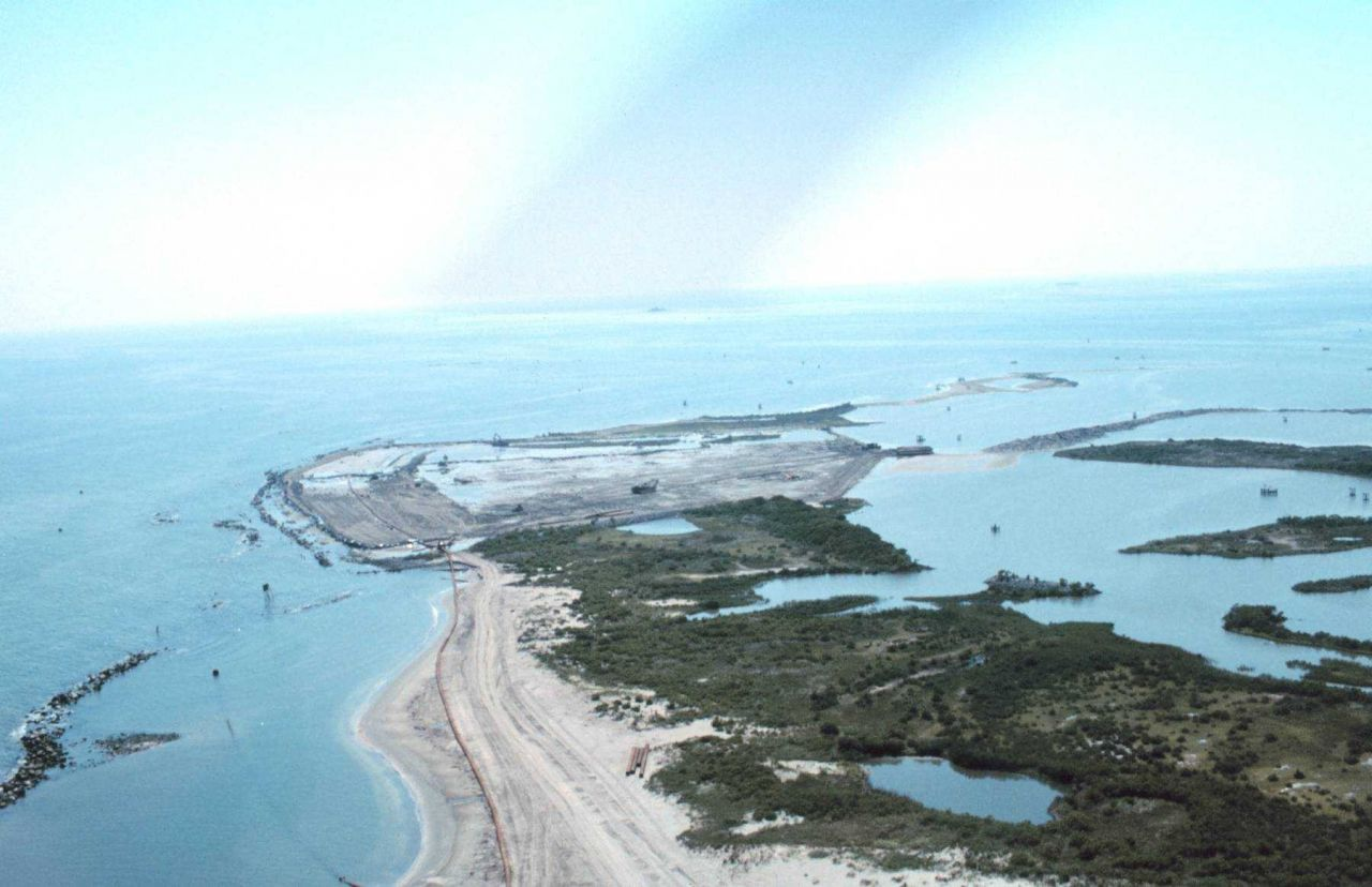 An aerial view of the West End of East Timbalier Island. Photo