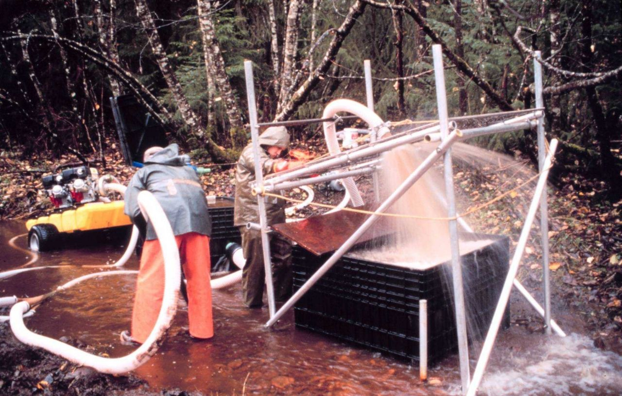 An overview of the pumping and filtering process. Photo