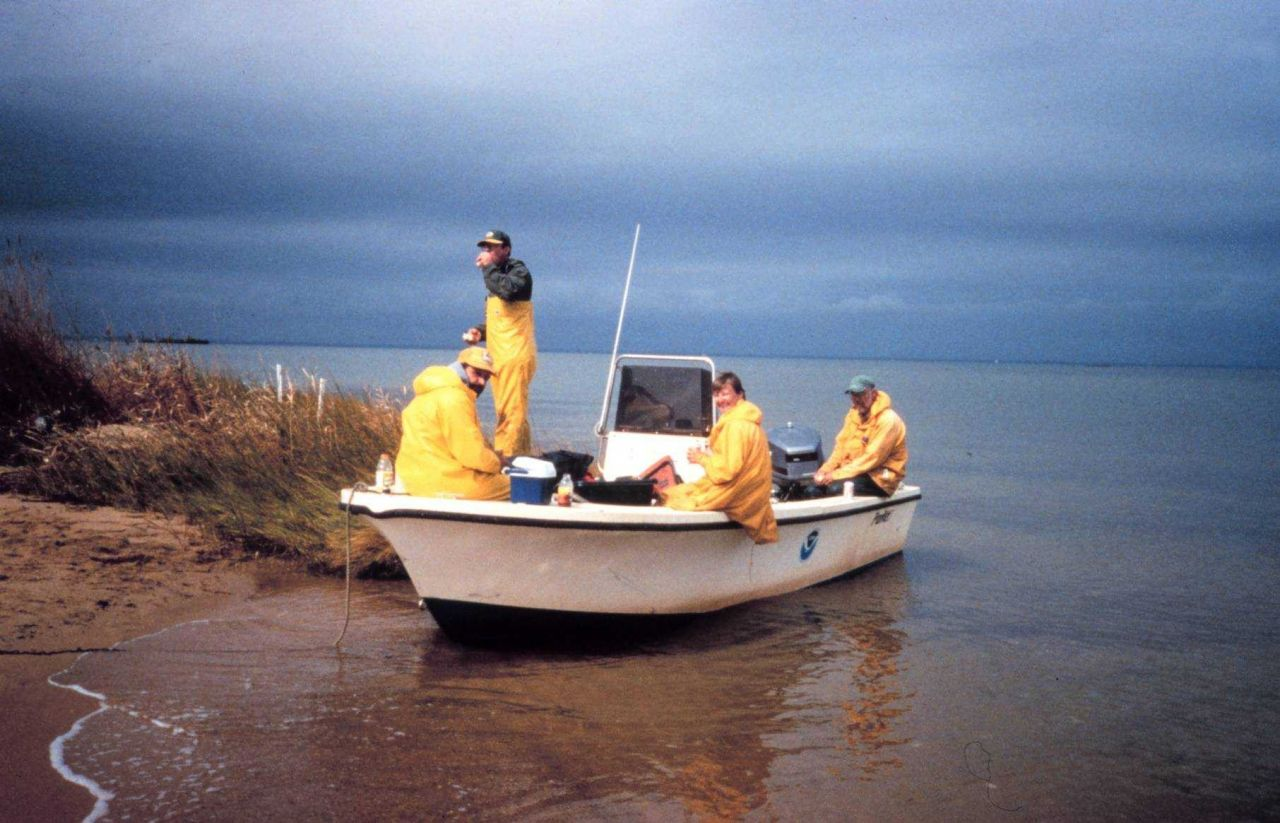 The crew takes a lunch break during sampling. Photo