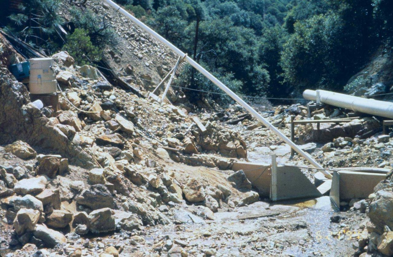 Part of the collection system for acid mine drainage. Photo