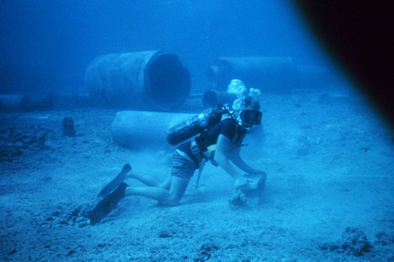 Diver laying transect line for conducting fish survey Photo