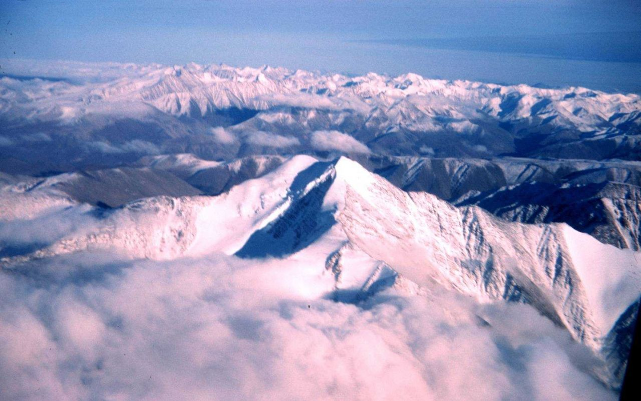 View from the airplane of Alaska coastal ranges Photo