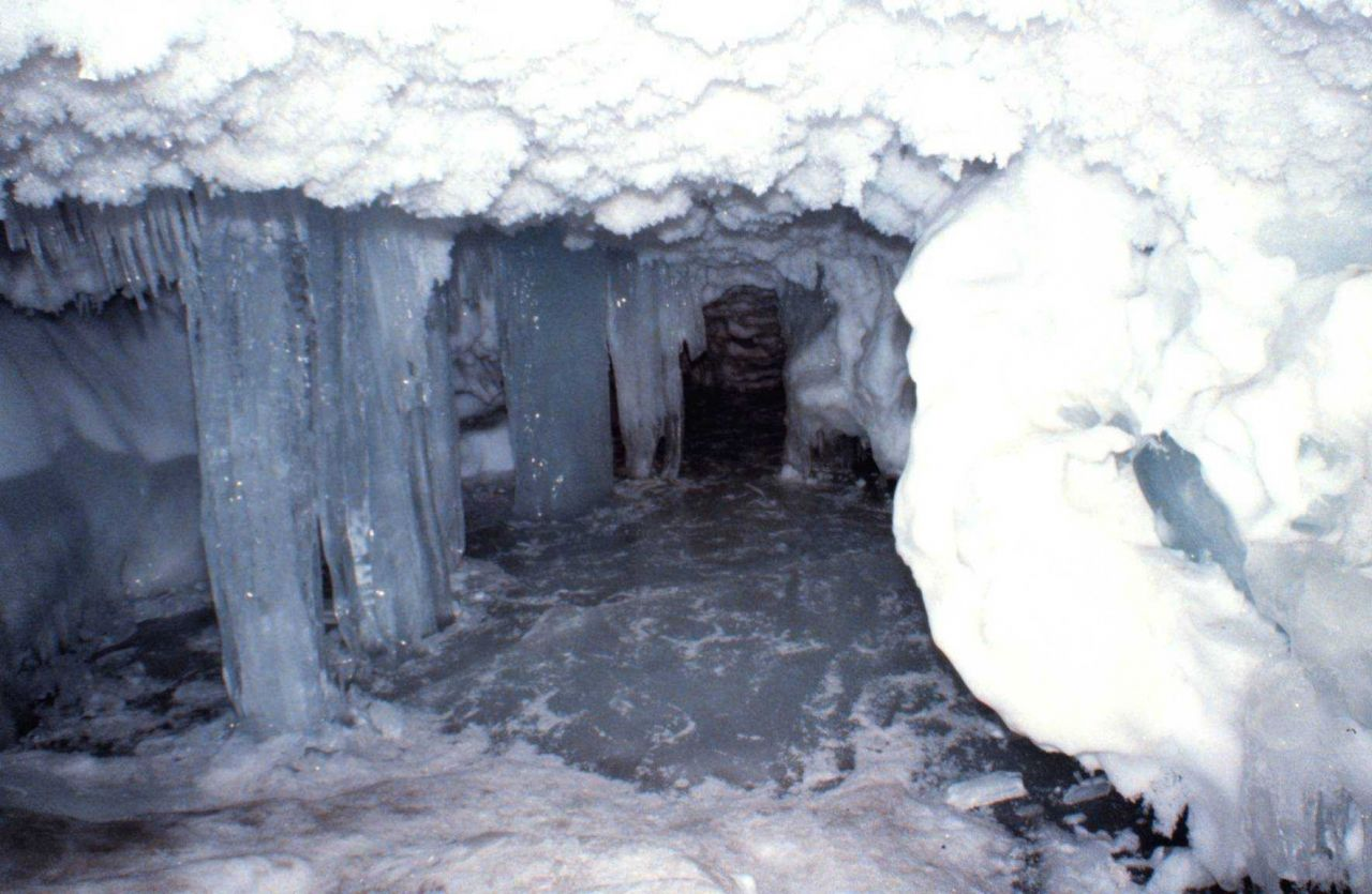 Ice stalactites, columns of ice, refrozen floor of cave, and ice crystals. Photo