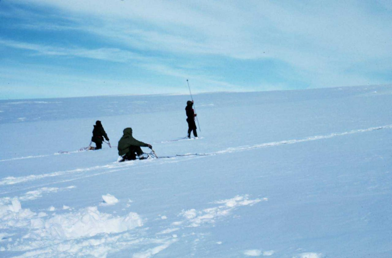 Probing for crevasses on Skelton Glacier - progress sometimes only a mile/day Photo