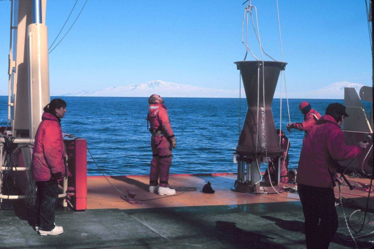 Preparing a mid-water sediment trap for deployment in the Ross Sea Photo