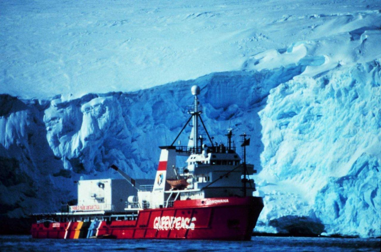 A Greenpeace vessel on an Antarctic expedition. Photo