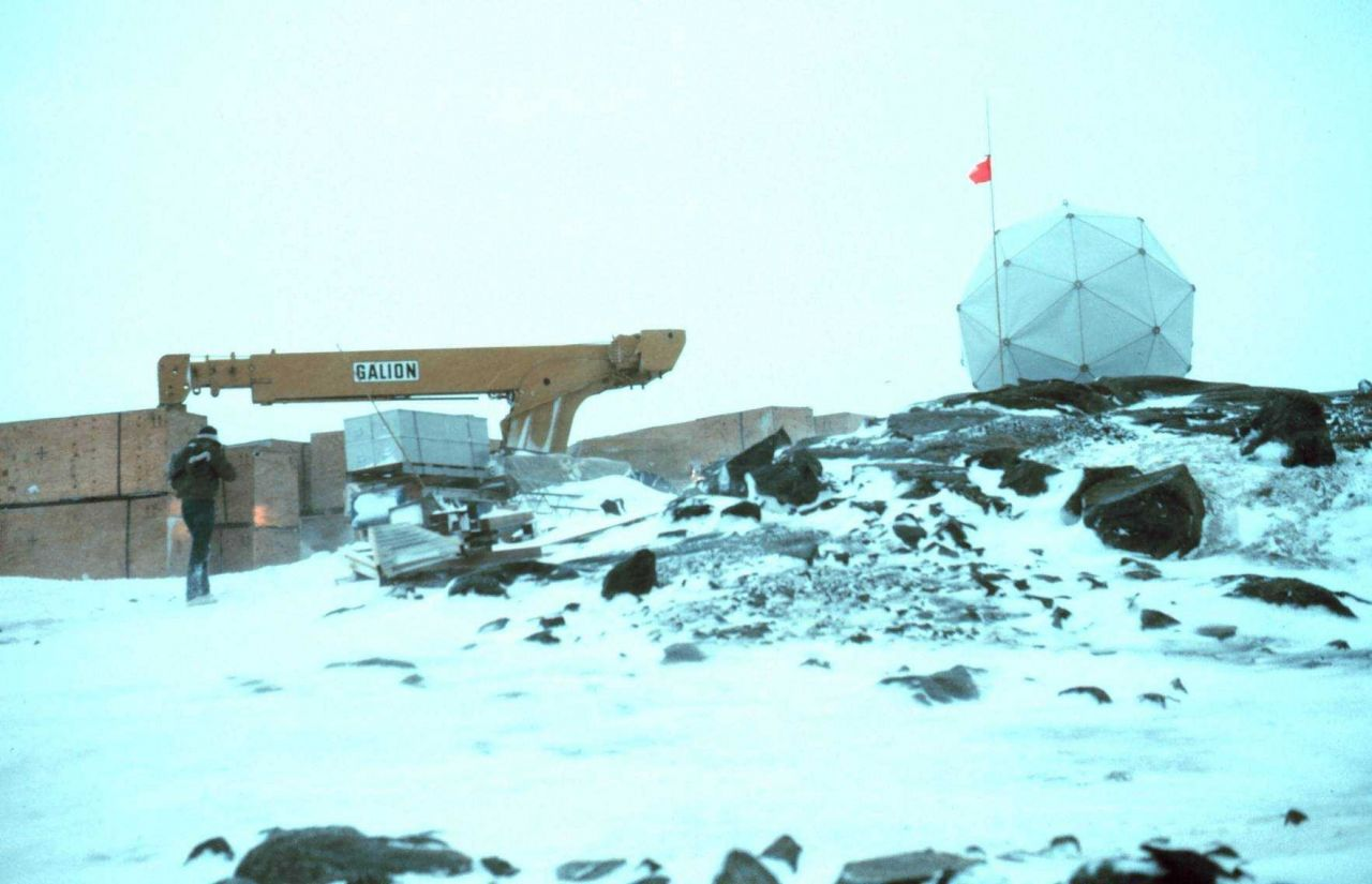 Geodesic dome erected to shelter AHVRR satellite data receiver at Palmer Station Photo