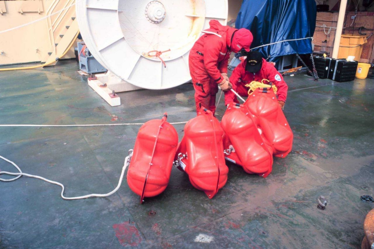 Preparing floats for a mooring deployment Photo