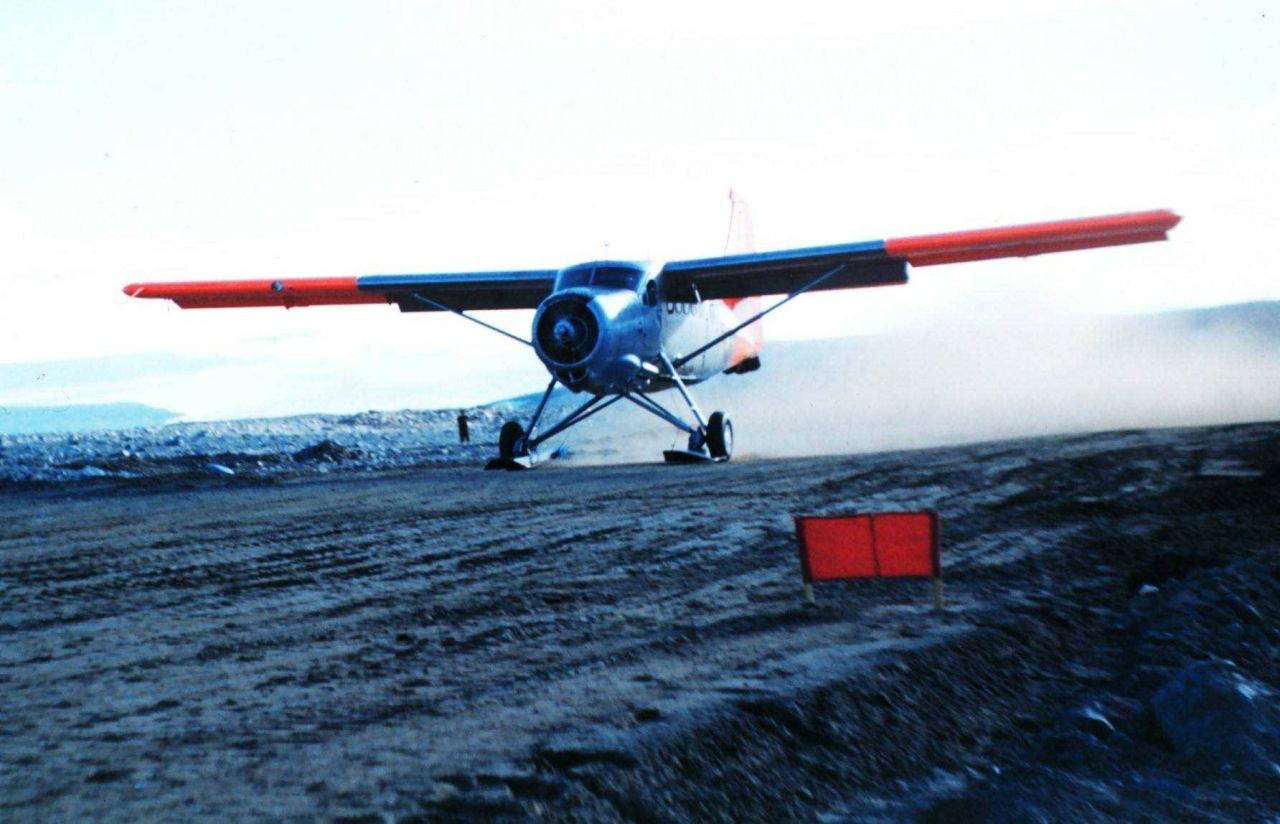 The first ground landing at Marble Point air strip and in Antartica Photo