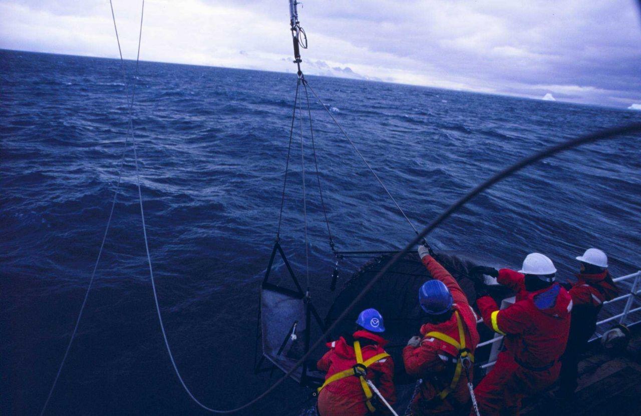 Bringing the sampling net on deck Photo