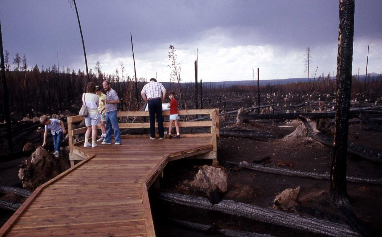 Visitors at roadside fire exhibit Photo