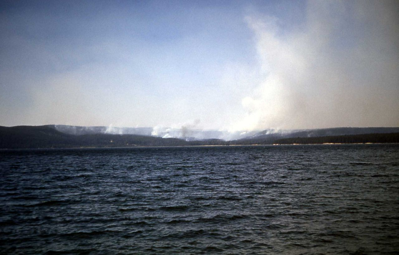 Chipmunk fire as seen from across Yellowstone Lake Photo