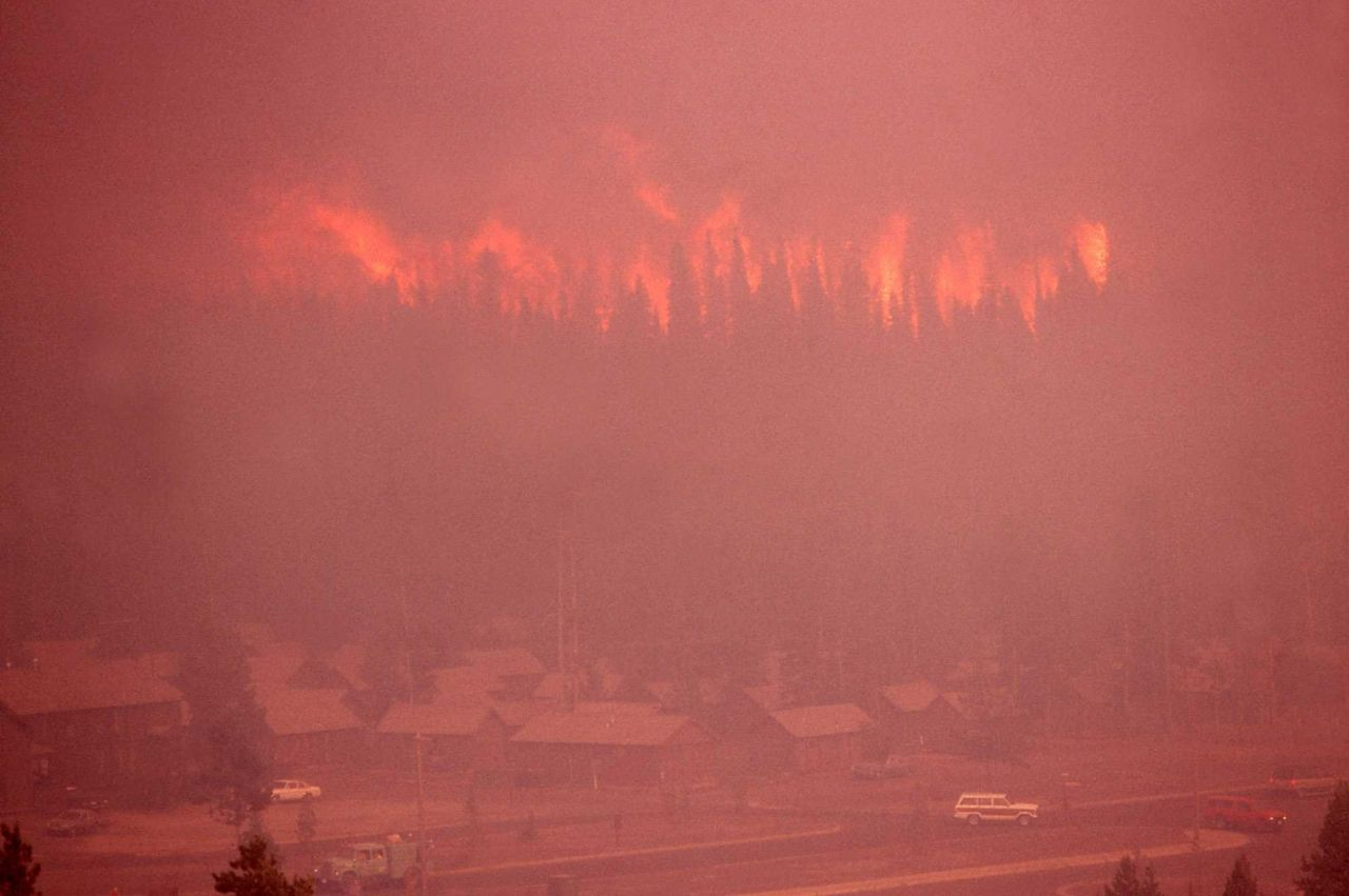Approaching firestorm (Crown fire) at Old Faithful Inn Photo